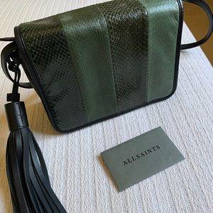 All saints Green Black Leather Crossbody Bag